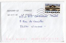 """2019-- Tp  Adhésif  PARIS  --Pont  Alexandre III Et Pont De La Concorde....  """"  Seul Sur Lettre- - Marcophilie (Lettres)"""