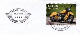 """(1922) Motorrad Oldtimer """"Indian Chief 1944"""", Aland, FDC Ersttagsstempel 28.5.2018 Mariehamn - Motos"""