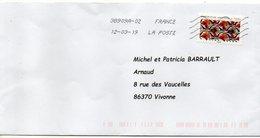 """2019-- Tp  Adhésif    """" Tissu--Inspiration Africaine  ....... """"  Seul Sur Lettre--- - Marcophilie (Lettres)"""