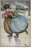 """L170A043 - Couple De Patineurs - Florence Hardy - """"Young Hearts"""" - Oilette - Raphaël Tuck & Sons  N°9694 - Hardy, Florence"""