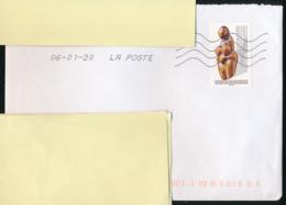 """2019 : Timbre Postal Adhésif """"Art, Sculpture, Paléolithique Supérieur"""" Seul Sur Lettre - 1961-...."""