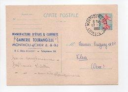 - Carte Postale GAINERIE TOURANGELLE, MONTHOU-SUR-CHER Pour TISSAGES DUGUEY, FLERS (Orne) 17.7.1961 - - Postwaardestukken
