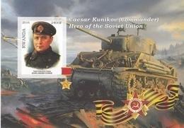Rwanda 2016 Hero Soviet Union Eroi Russia Caeser Kunikov Imperf. MNG - Seconda Guerra Mondiale