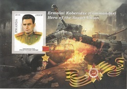 Rwanda 2016 Hero Soviet Union Eroi Russia Ermolai Koberidze Imperf. MNG - Seconda Guerra Mondiale