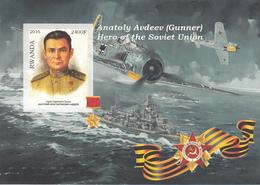 Rwanda 2016 Hero Soviet Union Eroi Russia Anatoly Avdeev Imperf. MNG (Gunner) - Seconda Guerra Mondiale
