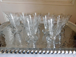 Suite De 11 Verre Bistrot à Apéritif Cristal Gravé Vintage Année 30/50 - Verre & Cristal