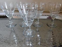 Suite De 6 Petits Verre Bistrot à Apéritif Cristal Soufflé Vintage Année 30 - Verre & Cristal