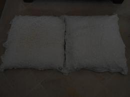 2 Dessus Identiques De Taies D'oreiller Anciens Faits Main - Bed Sheets