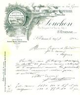 """Facture Decorative 1902 St.Etienne  ( Loire ) """" J.SOUCHON Imprimerie Lithographie Papeterie De Pliage Et Emballage """" - Drukkerij & Papieren"""