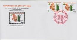Côte D'Ivoire Ivory Coast 2019 FDC 1er Jour Mi. ? 150ème Anniversaire Mohandas Mahatma Gandhi Peace Dove Bird - Joint Issues