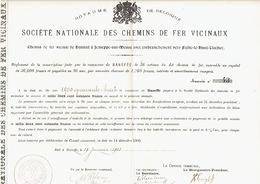 Action De 1903 Commune De HANEFFE Pour Le CHEMIN DE FER VICINAL DE HANNUT à JEMEPPE-SUR-MEUSE Vers FEXHE-LE-HAUT-CLOCHER - Chemin De Fer & Tramway