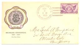 USA DC WASHINGTON TO NJ 1935 FIRST DAY COVER 43117 SC 775 MICHIGAN STATE SEAL - Postal History