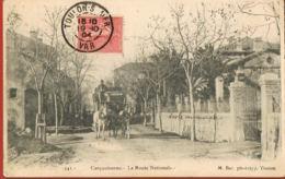 CPA - CARQUEIRANNE - 83- Var- La Route Nationale -Attelage Diligence -Recto Verso Voyagée 1904 - Carqueiranne
