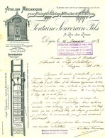 """Facture Decorative 1903 Dijon ( Cote D'Or ) """" FONTAINE-SOUVERAIN Atelier Pour Bois Decoupes & Menuiserie Artistique """" - Transportmiddelen"""