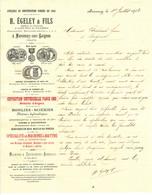 """Facture Decorative 1903 Marceney Sur Laignes ( Cote D'Or ) """" H.EGELEY Atelier  De Construction """" - Transports"""