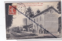 Chateauvillain (52) La Gare Avec Train Entrant En Gare -Passagers Et Cheminots (belle Animation) - Chateauvillain
