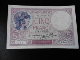 5 FRANCS FEMME CASQUEE 02.11.1939 - SUP+ - 1871-1952 Antiguos Francos Circulantes En El XX Siglo