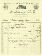 "Facture Decorative 1904 Nuits-Sous-Ravieres ( Yonne ) "" H.KRASNOPOLSKI Machines A Battre "" - Landbouw"