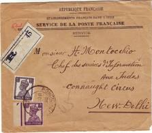 POSTE FRANCAISE Dans Les ETABLISSEMENTS DANS L' INDE Lettre RECOMMANDEE INTERIEURE Pondichery - Indien (1892-1954)