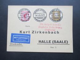 1929 Mit Luftpost Befördert Flughafen Halle / Leipzig (Schkeuditz) SST Bremen Luftpost Kolonial Briefmarken Ausstellung - Deutschland