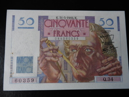 50 FRANCS LE VERRIER 31.05.1946 - SUP - 1871-1952 Gedurende De XXste In Omloop