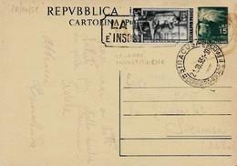 Intero C141 ; Roma 18-10-1951 Per Siracusa ; Timbro A Targhetta LA LANA E' INSOSTITUIBILE - 6. 1946-.. Repubblica