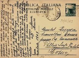 Intero C142 ; Napoli 21-12-1949 ; RISPOSTA - 6. 1946-.. Repubblica