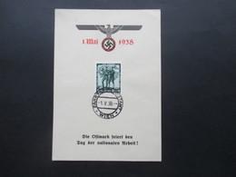 3. Reich 1938 Gedenkblatt Die Ostmark Feiert Den Tag Der Nationalen Arbeit! Stempel Fahrbares Postamt Wien - Briefe U. Dokumente