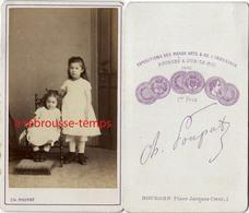 CDV Deux Fillettes Vers 1870-photo Poupat à Bourges - Old (before 1900)