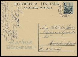 """BARBUS. """"Barbus Impermeabili"""" Cartolina Postale Viaggiata Nel 1952 (Interitalia 148.1). Rara E BBB. - 6. 1946-.. Repubblica"""