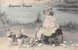 Joyeuse Pâques - Petit Fille Sur Une Charette - Lapin - Oeufs -1906 - Easter