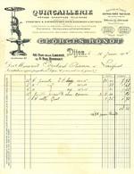 "Facture Decorative 1901 Dijon ( Cote D'Or ) "" GEORGES RONOT Quincaillerie Menage Chauffage Eclairage "" - Transportmiddelen"