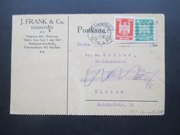 DR 1926 Reichsadler MiF Mit Perfin / Firmenlochung J. Frank Hannover Nach Zürich Vermerk Zurück Zu Ergänzung - Deutschland