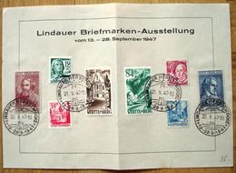 Württemberg 1947: Blatt Mit U.a. ZONE FRANCAISE Mi 12+13 Mit O LINDAUER HERBSTWOCHE 21.9,.47 (Michel 168.00 Euro Für O) - Zone Française