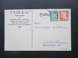 DR 1925 / 26 Reichsadler MiF Mit Perfin / Firmenlochung J. Frank & Co. Hannover Nach Zürich 3 Firmenkarten - Deutschland