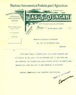 """Facture Decorative 1897 Paris ( Seine ) """" Jas.S.DUNCAN Machines,Instruments Pour L'Agriculture """" - Agriculture"""