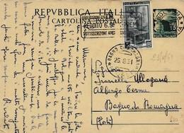 Intero C141 ; Bologna 23-8-1951 Per Bagno Di Romagna ; Timbro A Targhetta OBBLIGAZIONI 6% .... - 6. 1946-.. Repubblica