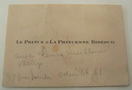 Carte De Visite Prince Et Princesse Bibesco Roumanie Diplomate Vintage Rétro - Cartes De Visite