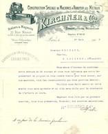"""Facture Decorative 1903 Paris ( Seine ) """" KIRCHNER & Cie Construction Speciale De Machines A Raboter Les Metaux """" - Transports"""