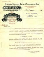 """Facture Decorative 1910 Paris ( Seine ) """" KIRCHNER & Cie Scieries & Machines A Travailler Le Bois """" - Transports"""