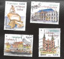 TIMBRE FRANCAIS.OBLITERE   ...2012.. N°4637/4640.  CAPITALE EUROPEENNE  COPENHAGUE...VOIR SCAN - France
