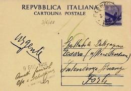 Intero C 134 ; Lido Di Rimini 3-6-1948 Per Forlì - 6. 1946-.. Repubblica