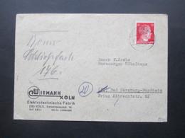3. Reich 21.2..1945 Hitler EF Firmenbrief Wiemann Köln Elektrotechnische Fabrik Nach Bad Harzburg - Germany