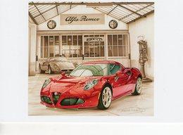 Alfa Romeo 4C  -  Tableau De Francois Bruère  -  Art Card  -  CPM - Turismo