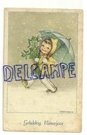 Petite Fille Dans La Neige, Gui, Et Parapluie. Signée Mariapia. 1951 - Otros Ilustradores