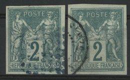 N°30 (x2) Cote 34 € COLONIES GENERALES 2ct Vert Type Sage. Oblitérés. TB. Lire Description - Sage