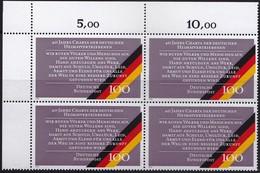 """BRD, 1990 Nr. 1470 **,  Viererblock Mit Eckrand Oben Links, """"Charta Der Deutschen Heimatvertriebenen"""" - Nuovi"""