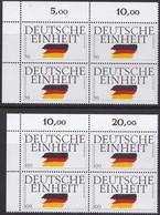 """BRD, 1990 Nr. 1477-1478 **,  2 Viererblöcke Mit ER Oben Links, """"Deutsche Einheit"""" - Nuovi"""