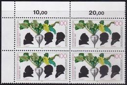 """BRD, 1992 Nr. 1599 **,  Viererblock Mit Eckrand Oben Links, """"Zuckerinstitut, Berlin"""" - Nuovi"""