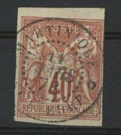 """N°27 Cote 35 € COLONIES GENERALES 40ct Rouge-orange Type Sage. Oblitération C-à-d """"MARTINIQUE ST PIERRE 11/3/78"""" - Sage"""